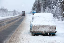 100 Trucks In Snow Cargo Driving Along Broken And Abandoned On Roadside Car