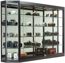 5x3 Wall Mounted Display Case W Mirror Back Sliding Doors Locking