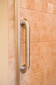 bathroom using grab bars for showers as your bathroom style decor
