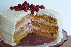 Pumpkin Cake Paula Deen by Pumpkin Cake With Cranberry Mousse Filling And Cinnamon