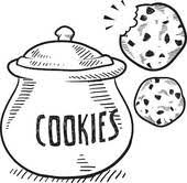 chocolate chip cookie clipart black and white