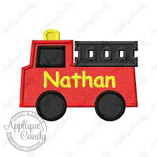 100 Fire Truck Applique Candy Embroidery Home
