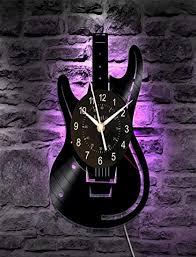 haimingwei wohnzimmer einfache kreative schallplatte wanduhr kunst gitarre mit led instrument stumm licht leuchtende uhr 30cm beleuchtete version