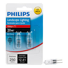shop philips 2 pack 20 watt bright white t3 halogen light fixture