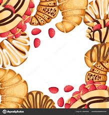 Pattern Of Croissant And Pancakes With Different Fillings Cream Chocolate Sesame On Top Strawberry Vector