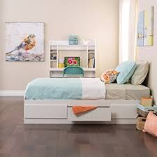 amazon com white twin mate u0027s platform storage bed with 3 drawers