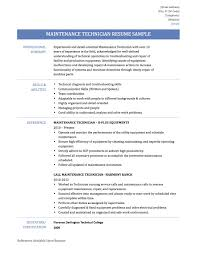 Resume Examples Mechanical Technician Luxury Maintenance Sample Weoinnovate