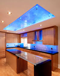 led light stripe with glass countertop kitchen contemporary and