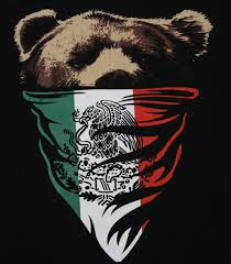 California Republic Mexican Flag Bandana Bear Mens T Shirt