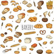 Seamless Pattern Hand Drawn Doodle Of Cartoon Food Rye Bread Whole Grain