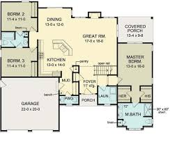 One Level House Plans With Basement Colors First Floor Plan Of Ranch House Plan 54066 Move Garage Back 2