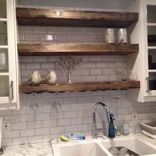 Floating Shelf With A Wine Glass Rack Farmhouse Rustic Shelves Reclaimed Wood