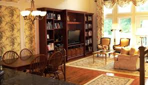 Living Dining Rooms Cream Area Rugs Cherry Built In Bookcase Wallpaper With Moldings