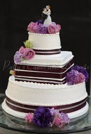 Wedding Cake Round Square Brown Ribbon