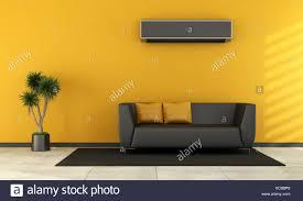 modernes wohnzimmer mit schwarzen sofa und klimaanlage auf