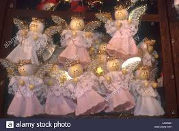 Assembly Or Meeting Of Little Pink Christmas Tree Angel Figures On The Fair Munich Bavaria Germany Europe
