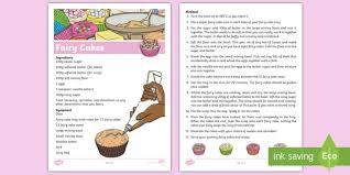 Fairy Cake Recipe Sheet