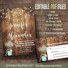 Printable Wedding Invitation Rustic Barn Editable Pdf Invitations