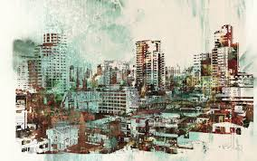 Cityscape With Abstract Texturesillustration Painting Illustration