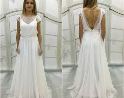 Boho Vintage Inspired A Line Chiffon Wedding Dress With Illusion Neckline Cap Sleeves