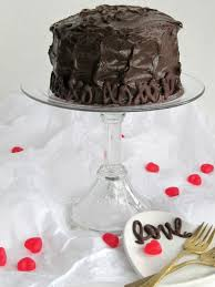 Chocolate Cake With Fudge Filling And Hersheys Frosting For Valentines Day