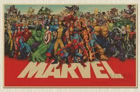 Vintage Superhero Wall Decor by Marvel Cuadros Super Hero Retro Kraft Movie Poster Antique Wall