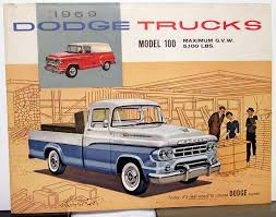 1959 Dodge Truck Model 100 Pickups Panels Stakes Color Sales Folder ...