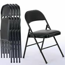 Black Folding Chairs Fabric Upholstered Padded Seat Metal Frame Home Office