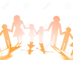 Family Paper Chain Cutout Holding Hands Stock Photo