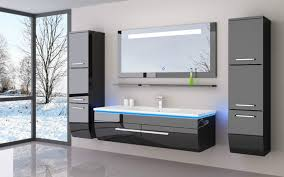 120 schwarz hochglanz 120 badmöbel set bad möbel komplett set incl led system fertig montiert lackiert 6 teilig