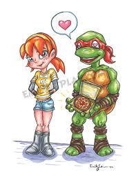 TMNT Pizza Love April ORIGINAL Art