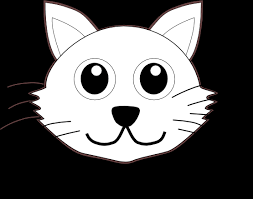 Cat 1 Face Cartoon Black White Line Coloring Sheet Colouring Page 555px