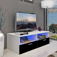 Ktaxon LED TV Stand Unit Cabinet Storage 2 Drawers High Gloss With Shelves Black UK