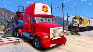 Disney Cars Transportation In Trouble With Train - Mack Truck Hauler ...