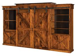 Amish Rustic Wall Unit Entertainment Center Sliding Barn Doors