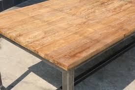 industrieller esszimmertisch massivholz teak