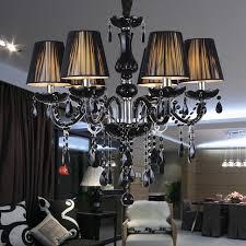 Modern Black Crystal Chandelier Lampshades Antique Brass