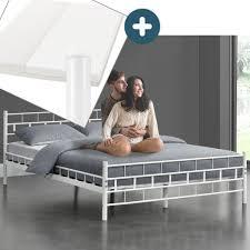 juskys metallbett malta 140 x 200 cm weiß komplett set mit matratze bett mit lattenrost und kaltschaummatratze modern massiv große
