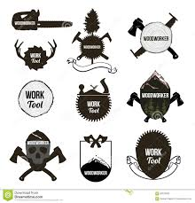Set Of Vintage Carpentry Tools Icons Labels Logo