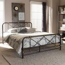 Vintage Industrial Black Finished Queen Metal Bed