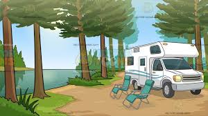 An Rv Parked By The River Background