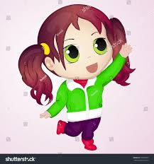 Cute anime chibi little girl trying to take something Simple cartoon style Vector illustration