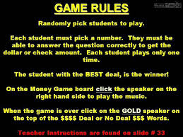 Deal Or No Classroom Game Powerpoint Template Interactive Whiteboard Free