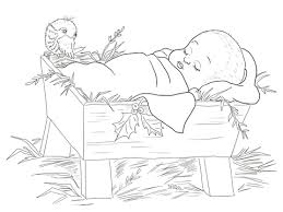 Click To See Printable Version Of Baby Jesus In A Manger Coloring Page