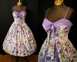 Sassy 1950s Lavender And White Floral Print New Look Sweetheart Sundress Vlv Rockabilly Pin Up Girl