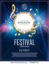 Music Poster Template With Circle Banner Notes Treble Clef Shining Design Vector