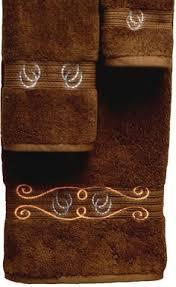 Horseshoes Rope Embroidered Chocolate Bath Towel 3 Pc Set KLKDCHOHSHO3