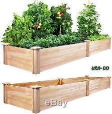 Raised Garden Planter Box Cedar Wood Bed Kit Grow Ve ables Herbs