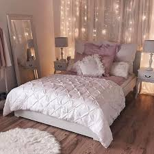 Romantic Bedroom Inspiration Sophisticated White And Pink String Light Backdrop Duvet Accents