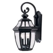 sunset 2 light black outdoor wall lantern f6892 31 the home depot
